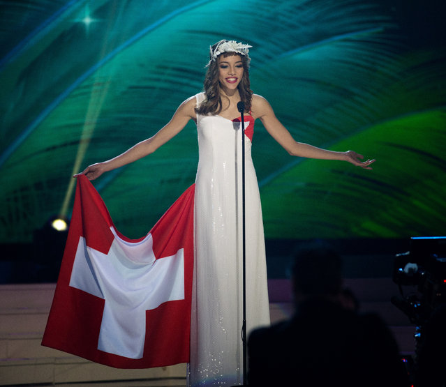 Miss Switzerland, Zoe Metthez, poses for the judges, during the national costume show during the 63rd annual Miss Universe Competition in Miami, Fla., Wednesday, January 21, 2015. (Photo by J. Pat Carter/AP Photo)