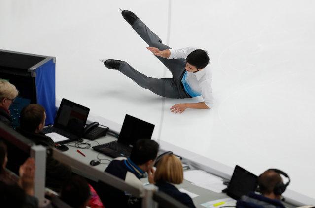 Julian Zhi Jie Yee of Malaysia falls during the Men's Short program of the ISU Figure Skating Grand Prix Rostelecom Cup in Moscow, Russia, 16 November 2018. (Photo by Sergei Ilnitsky/EPA/EFE)