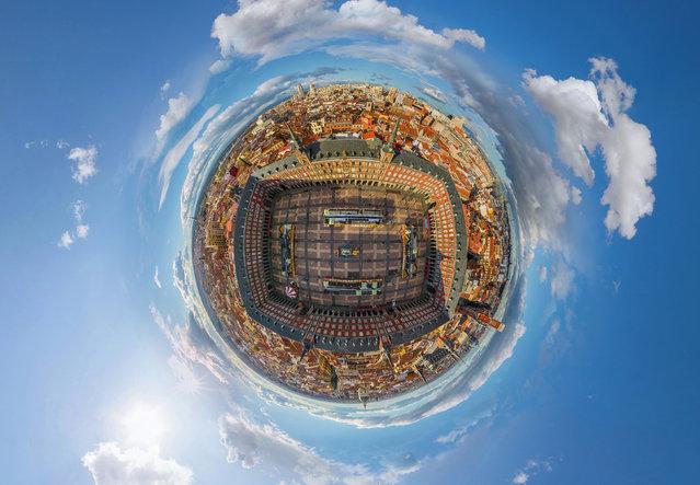 Plaza Mayor, Mardid, Spain. (Photo by Airpano/Caters News)