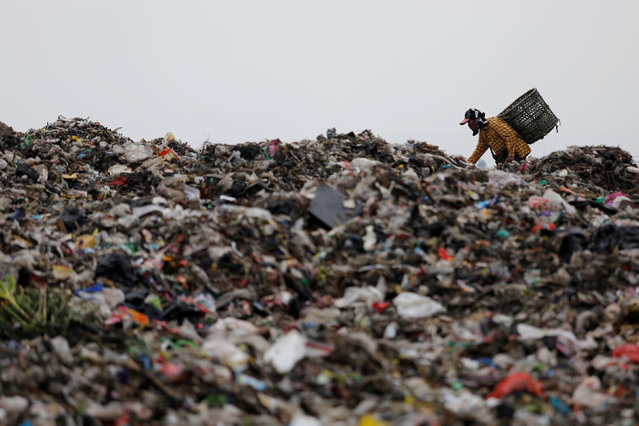 A man searches for plastic to sell for recycling at Bantar Gebang landfill in Bekasi, West Java province, Indonesia November 22, 2018. (Photo by Darren Whiteside/Reuters)