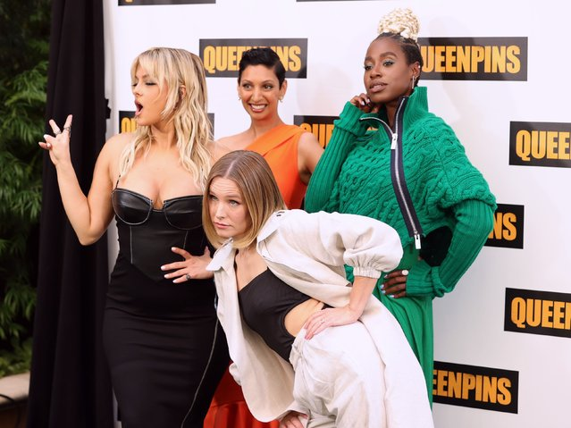 """(L-R) Bebe Rexha, Gita Pullapilly, Kristen Bell, and Kirby Howell-Baptiste attend STX's """"Queenpins"""" photocall at Four Seasons Hotel Los Angeles at Beverly Hills on August 25, 2021 in Los Angeles, California. (Photo by Rich Fury/Getty Images)"""