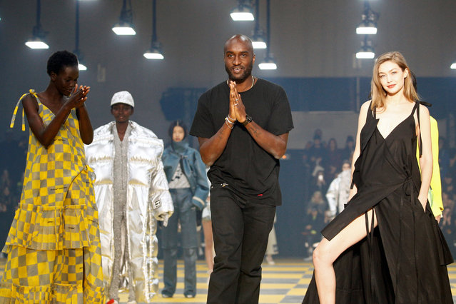 Designer Virgil Abloh appears at the end of his Fall/Winter 2019-2020 women's ready-to-wear collection for his label Off-White during Women's Fashion Week in Paris, France, February 28, 2019. (Photo by Stephane Mahe/Reuters)