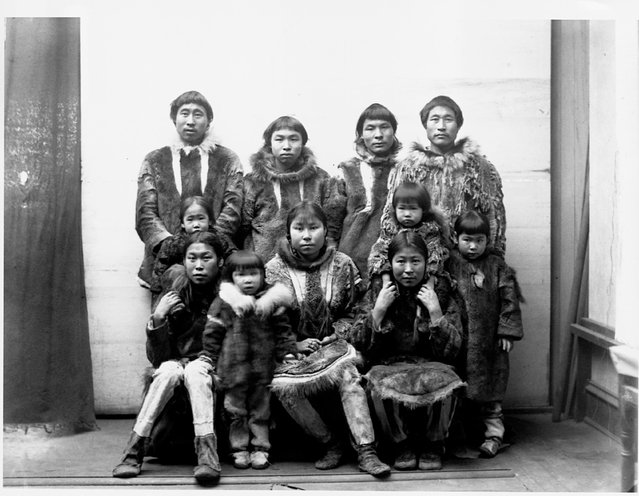 An Eskimo group of men, women, and children dressed in fur coats in Port Clarence, Alaska in 1894. | Location: Port Clarence, Alaska. (Photo by Corbis via Getty Images)