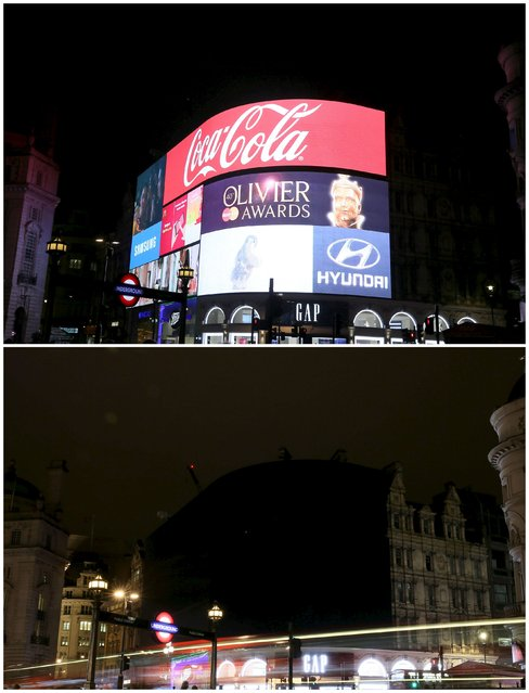 This combination picture shows Piccadilly Circus illuminated after (top) and during when the lights were switched off for Earth Hour in London, Britain March 19, 2016. (Photo by Neil Hall/Reuters)