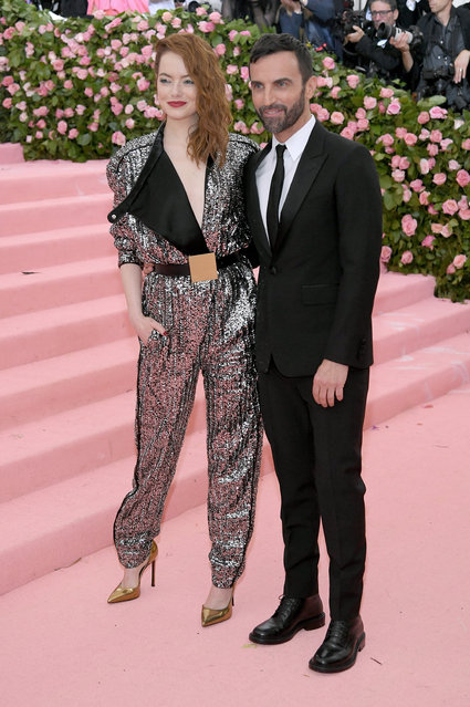 Emma Stone and Nicolas Ghesquière attend The 2019 Met Gala Celebrating Camp: Notes on Fashion at Metropolitan Museum of Art on May 06, 2019 in New York City. (Photo by Neilson Barnard/Getty Images)