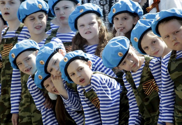 Children line up during the so-called parade of children's troops in Rostov-on-Don, southern Russia, May 14, 2015. (Photo by Eduard Korniyenko/Reuters)
