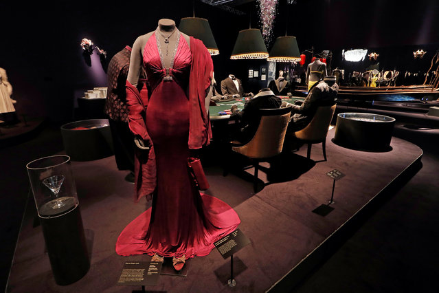 """A costume for the film """"Casino Royale"""" is seen at the exhibition """"The Designing 007: Fifty Years of Bond Style"""" during a press presentation at the Grande Halle de la Villette in Paris, France, April 13, 2016. (Photo by Benoit Tessier/Reuters)"""