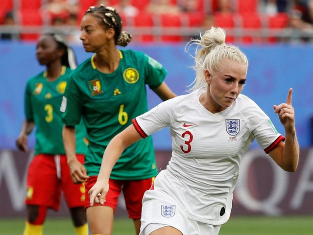 Alex Greenwood of England celebrates after scoring a goal to make it 3-0 during the 2019 FIFA Women's World Cup France Round Of 16 match between England and Cameroon at Stade du Hainaut on June 23, 2019 in Valenciennes, France. (Photo by Phil Noble/Reuters)