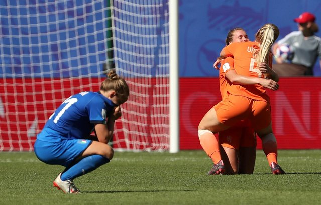 Lieke Martens of the Netherlands celebrates victory with teammate Kika Van Es at full-time of the 2019 FIFA Women's World Cup France Quarter Final match between Italy and Netherlands at Stade du Hainaut on June 29, 2019 in Valenciennes, France. (Photo by Yves Herman/Reuters)