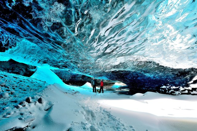 A British father-of-two ventured deep into a crystal ice cave in one of the world's biggest glaciers for a rare glimpse of its ancient sculptures. Photograher Mark Andreas Jones, 42, braved sub-zero temperatures and battled across tricky terrain to take a look at the cave's hidden treasures. (Photo by Mark Andreas Jones/Solent News)