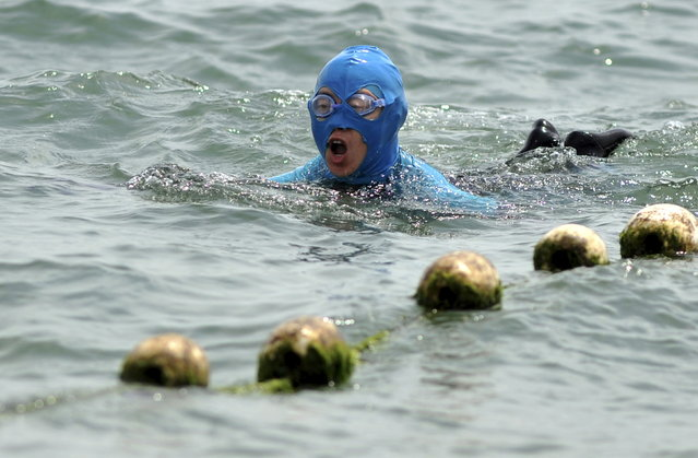 A woman wearing a face-kini mask swims in the ocean in Qingdao, Shandong province, China, June 3, 2015. The face-kini appeared in 2004 on the beaches of the coastal city of Qingdao, in response to demands for full protection from both the sun and from jellyfish stings. The inventor, former accountant Zhang Shifan, told Reuters she never imagined her mask would become so popular with about 30,000 of them sold over the past year. (Photo by Reuters/Stringer)