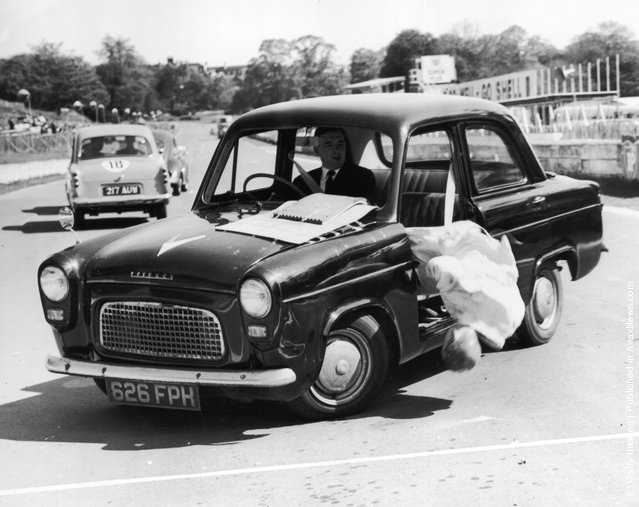 1964: A chilling demonstration of what happens during a sharp swerve if a passenger isn't wearing their seatbelt