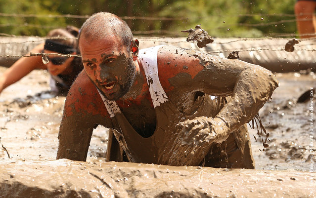 Joe Armanta crawls through a mud pit under low slung barbed wire as he competes in The Tough Bloke Challenge
