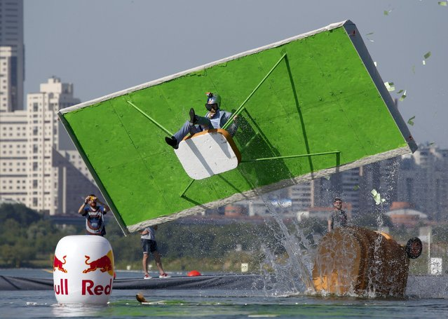 A participant attempts to control his craft during the Red Bull Flugtag Russia 2015 competition in Moscow, Russia, July 26, 2015. (Photo by Sergei Karpukhin/Reuters)