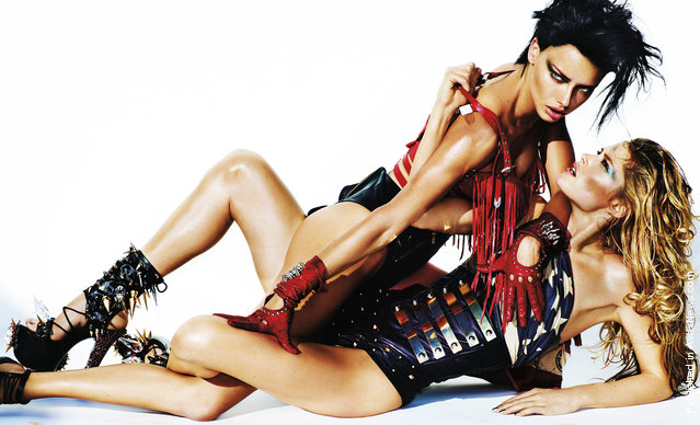 Doutzen Kroes & Adriana Lima for V Magazine #76 Spring 2012 by Mario Testino (Styling by Nicola Formichetti)