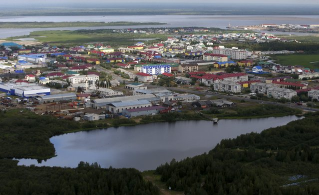 An aerial view shows Naryan-Mar, the administrative centre of Nenets Autonomous Area, far northern Russia, August 2, 2015. (Photo by Sergei Karpukhin/Reuters)