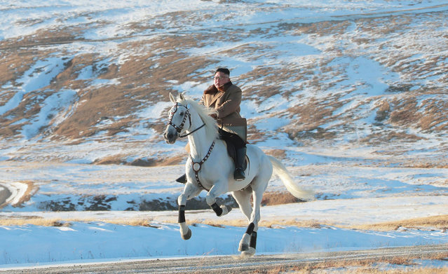 North Korean leader Kim Jong Un rides a horse during snowfall in Mount Paektu in this image released by North Korea's Korean Central News Agency (KCNA) on October 16, 2019. (Photo by KCNA via Reuters)