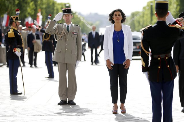French City Policy junior minister Myriam El Khomri attends a ceremony at the Arc de Triomphe in Paris, France, May 19, 2015. (Photo by Charles Platiau/Reuters)