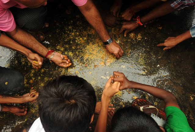 Indian Hindu devotees scramble to collect coins fallen from a broken dahi-handi (curd-pot) suspended in air during traditional celebrations for the Janmashtami festival, which marks the birth of Hindu god Lord Krishna, in Mumbai on August 18, 2014. Participants receive prize money by constructing a human pyramid tall enough to enable the topmost person to reach the pot and claim the contents after breaking it. (Photo by Indranil Mukherjee/AFP Photo)