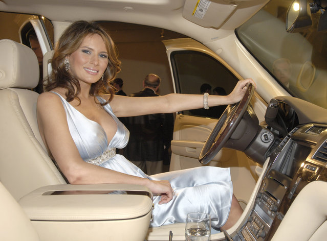 Melania Trump during Melania Trump Unveils The 2007 Cadillac Escalade to The Fashion World at Milk Studios in New York City, New York, United States. (Photo by Jamie McCarthy/WireImage)