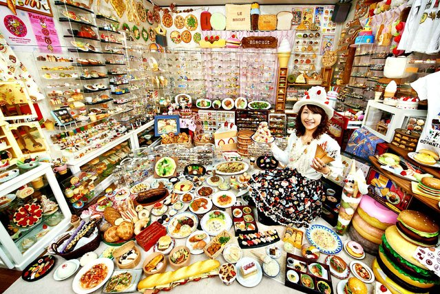 A recent undated handout picture released by the Guinness World Records on September 9, 2014, shows Akiko Obata, who has secured her place in the 2015 Guinness Book of Record for having the largest collection of plastic food, with more than 8,000 items filling her apartment. (Photo by Shinsuke Kamioka/AFP Photo/Guinness World Records)