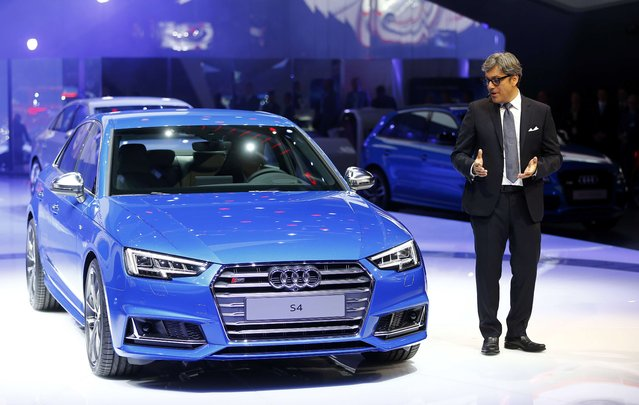 Audi Member of the Board Luca de Meo makes the world premiere of the Audi S4 car during the media day at the Frankfurt Motor Show (IAA) in Frankfurt, Germany, September 15, 2015. (Photo by Kai Pfaffenbach/Reuters)