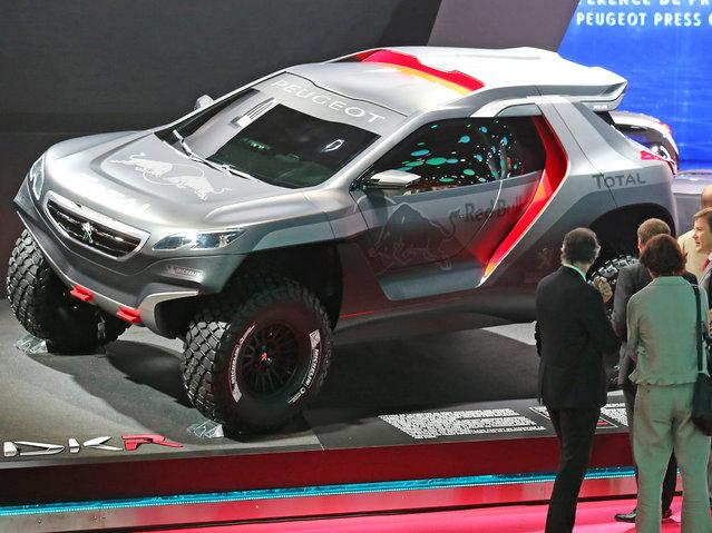 The Peugeot 2008 DKA is presented at the Paris Motor Show, in Paris, Thursday October 2, 2014. (Photo by Remy de la Mauviniere/AP Photo)