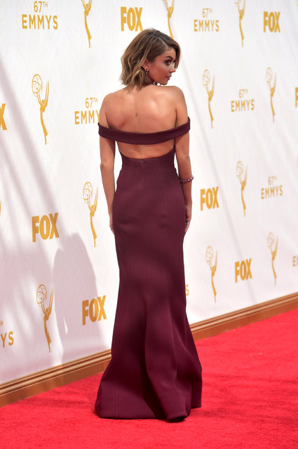 Sarah Hyland arrives at the 67th Primetime Emmy Awards on Sunday, September 20, 2015, at the Microsoft Theater in Los Angeles. (Photo by Charles Sykes/Invision for the Television Academy/AP Images)
