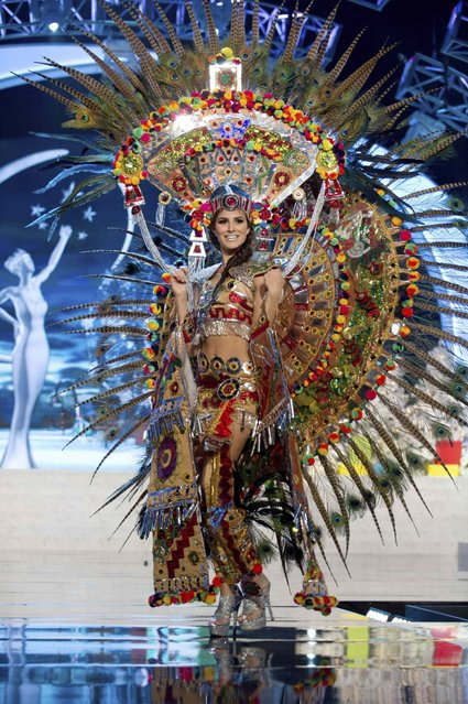 Miss Mexico Karina Gonzalez on stage at the 2012 Miss Universe National Costume Show on Friday, December 14, 2012 at PH Live in Las Vegas, Nevada. The 89 Miss Universe Contestants will compete for the Diamond Nexus Crown on December 19, 2012. (Photo by AP Photo/Miss Universe Organization L.P., LLLP)