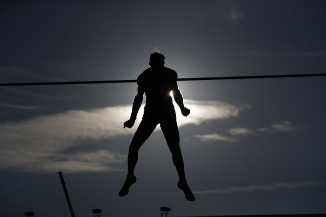 Renaud Lavillenie of France competes in pole vault at the Golden Spike athletic meeting in Ostrava, Czech Republic, Tuesday, September 8, 2020. (Photo by Petr David Josek/AP Photo)
