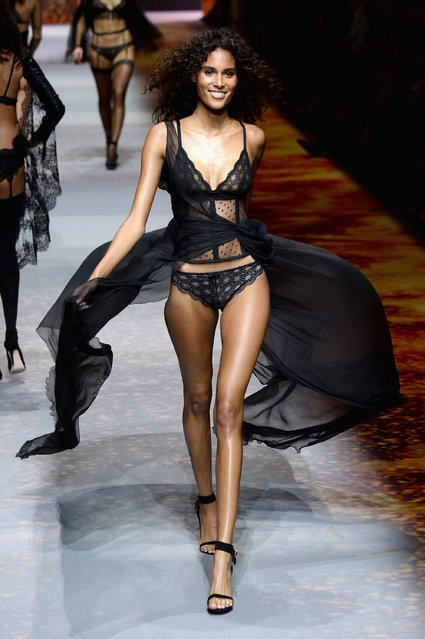 Cindy Bruna walks the runway during the Etam show as part of the Paris Fashion Week Womenswear Spring/Summer 2017 on September 27, 2016 in Paris, France. (Photo by Francois Durand/Getty Images)