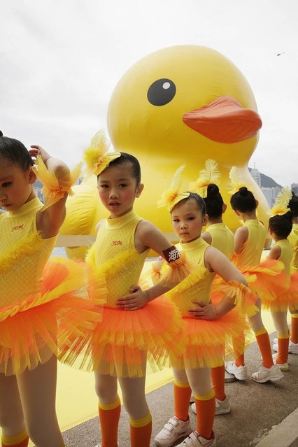 "Dutch conceptual artist, Florentijin Hofman's Floating duck sculpture called ""Spreading Joy Around the World"", is given a welcome ceremony by the Hong Kong Police band as it is moved to the South Side of Ocean Terminal, Victoria Harbour, on May 2, 2013 in Hong Kong. (Photo by Jessica Hromas/Getty Images)"
