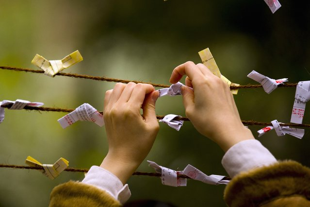 A woman ties a piece of paper to a string as part of a Shinto ritual on the first day of the new year at the Shinto Meiji Shrine in Tokyo January 1, 2015. (Photo by Thomas Peter/Reuters)