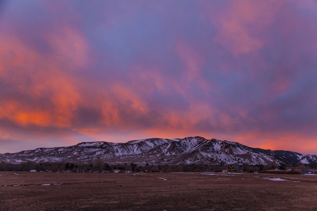 Sunrise over the Big Horn mountains, December, 2014, in Wyoming. (Photo by Roger Hill/Barcroft Media)