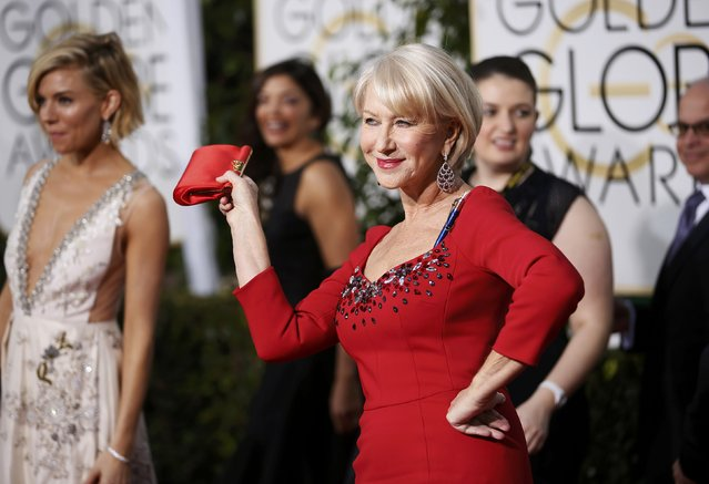 Actress Helen Mirren arrives at the 72nd Golden Globe Awards in Beverly Hills, California January 11, 2015. (Photo by Danny Moloshok/Reuters)