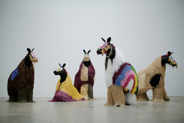 Dancers dressed as a horses pose during a press preview of American artist Nick Cave's first major work shown in Australia, entitled HEARD.SYD in Sydney, November 8, 2016. (Photo by Jason Reed/Reuters)