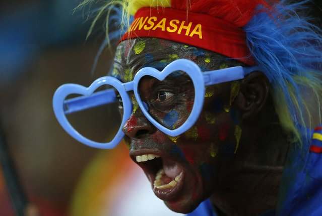 A Democratic Republic of Congo fan cheers for his team during their Group B soccer match against Tunisia at the 2015 African Cup of Nations in Bata, January 26, 2015. (Photo by Mike Hutchings/Reuters)