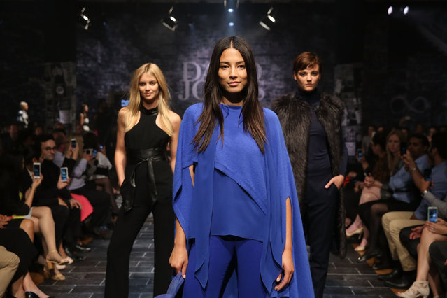 Jessica Gomes showcases designs by Carla Zampatti during a rehearsal ahead of the David Jones Autumn/Winter 2015 Collection Launch at David Jones Elizabeth Street Store on February 4, 2015 in Sydney, Australia. (Photo by Caroline McCredie/Getty Images for David Jones)