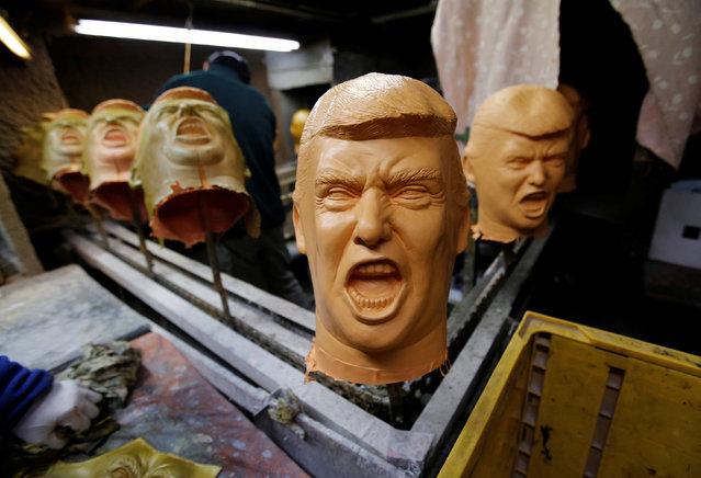 Rubber masks depicting U.S. President-elect Donald Trump are seen at the Ogawa Studios, a mask making company, in Saitama, Japan, November 21, 2016. (Photo by Toru Hanai/Reuters)