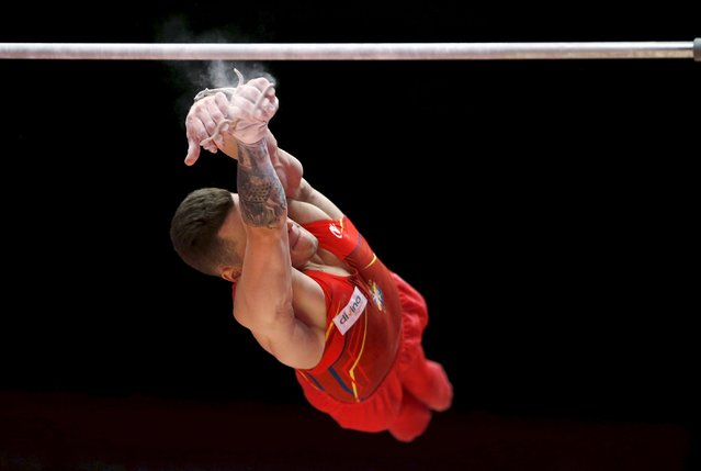 Nestor Abad of Spain falls from the high bar during the men's qualification for the World Gymnastics Championships at the Hydro arena in Glasgow, Scotland, October 26, 2015. (Photo by Phil Noble/Reuters)
