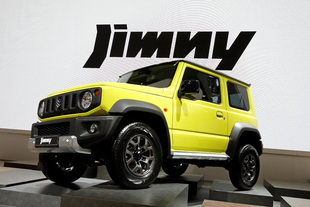 The Suzuki Jimny car is on display at the Auto show in Paris, France, Tuesday, October 2, 2018, 2018. (Photo by Benoit Tessier/Reuters)