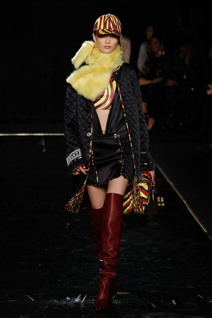 A model walks the runway at the Versace Pre-Fall 2019 Collection at The American Stock Exchange on December 02, 2018 in New York City. (Photo by JP Yim/Getty Images)