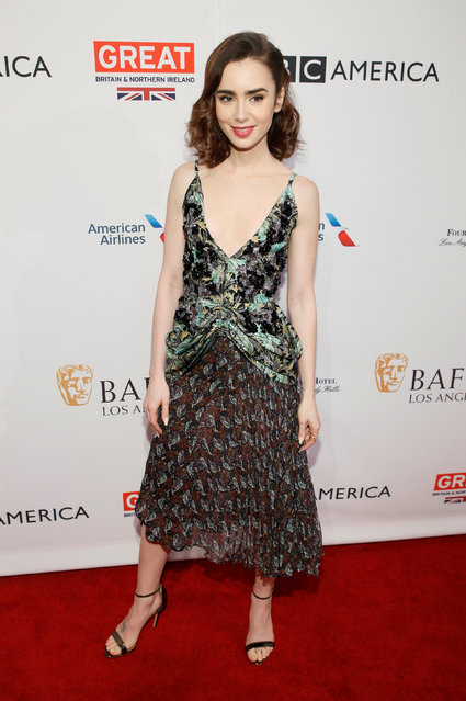 Actor Lily Collins poses at the BAFTA Los Angeles Awards Season Tea Party in Los Angeles, California, January 7, 2017. (Photo by Danny Moloshok/Reuters)