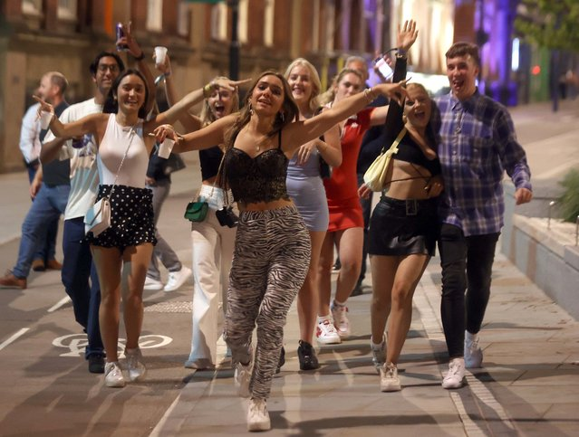 Freshers partied on the streets as they headed to clubs on September 23, 2021 in Leeds, United Kingdom. Crowds of freshers headed out with their new pals to party until the early hours as Freshers Week continues across the country. (Photo by Nb press ltd)