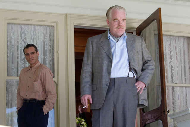 """""""The Master"""", Joaquin Phoenix, Philip Seymour Hoffman, 2012. (Photo by Phil Bray/The Weinstein Company/Everett Collection)"""