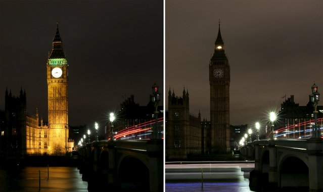 This combination picture shows the Houses of Parliament before (L) and after the lights were switched off for Earth Hour in London, Britain March 19, 2016. (Photo by Neil Hall/Reuters)