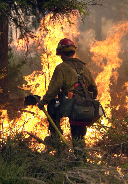 In this July 19, 2002, file photo, Rogue River Hot Shot Chris Lyke is silhouetted against flames as he works a burn out operation on the leading edge of the Eyerly Complex fire near Sisters, Ore. (Photo by Don Ryan/AP Photo)