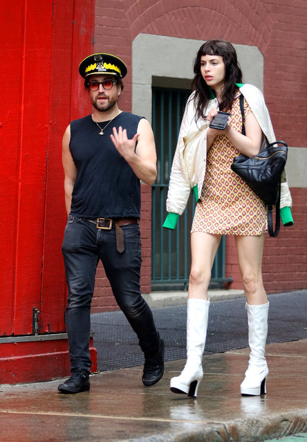 Sean Lennon and girlfriend Charlotte Kemp Muhl look fashionable together ahead of the MET Gala 2019 while walking in Manhattan's Soho neighborhood on May 6, 2019. (Photo by Joker/Splash News and Pictures)