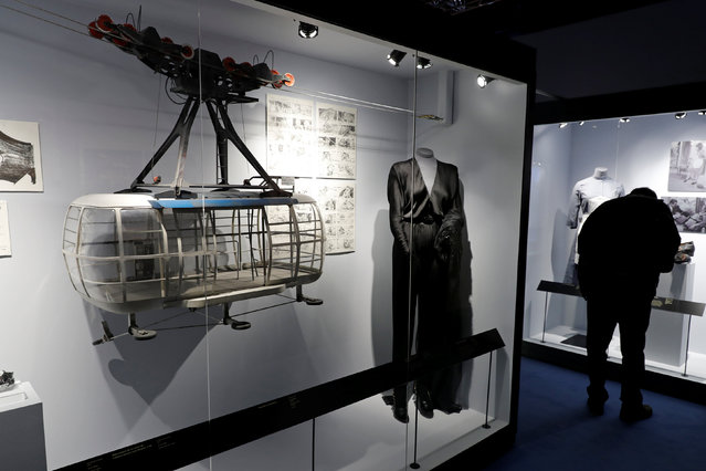 """A miniature cable car for the film """"Moonraker"""" is seen during the exhibition """"The Designing 007: Fifty Years of Bond Style"""" during a press presentation at the Grande Halle de la Villette in Paris, France, April 13, 2016. (Photo by Benoit Tessier/Reuters)"""