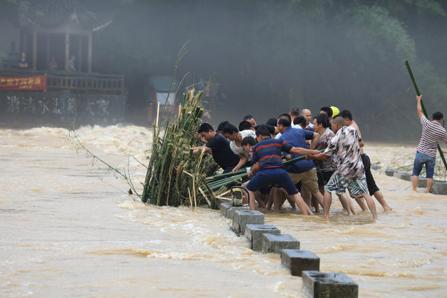 Men try to remove a bunch of bamboos from a bridge in floodwaters following heavy rainfall in Rongan county, Liuzhou, Guangxi Zhuang Autonomous Region, China on June 10, 2019. (Photo by Reuters/China Daily)